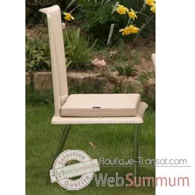 Video Chaise haute design Saint Tropez blanche coussin blanc, pieds chromes Art Mely - AM29