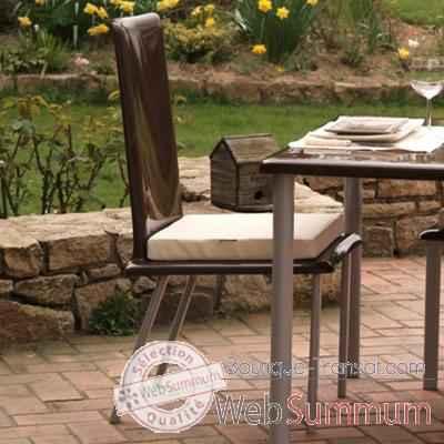 Chaise Haute Design Saint Tropez Marron Coussin Blanc Pieds Laques Art Mely