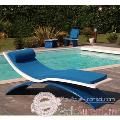 Design Vagance Chaise Blanche Bleu Foncé Art Transat Longue Matelas wmN8n0