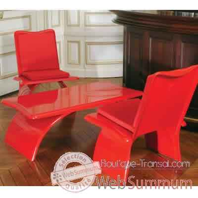 Table basse design rouge Art Mely - AM14