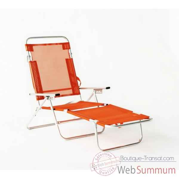 Segura-175 - chaise longue de plage pliable multipositions longueur : 145/185cm hauteur : 100cm couleur orange - lot de 4 Lido by hevea -10026-3663141